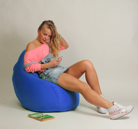 Кресло мешок Груша Детская Синяя