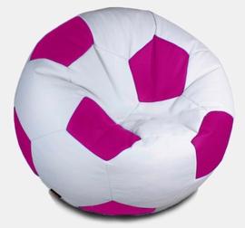 Кресло мешок футбольный мяч бело-фуксия
