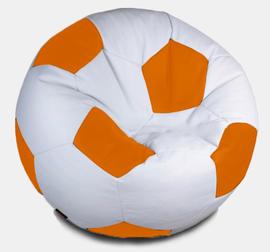 Кресло мешок футбольный мяч бело-оранжевый