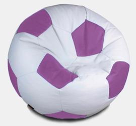 Кресло мешок футбольный мяч бело-сиреневый