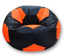 Кресло мешок футбольный мяч черно-оранжевый