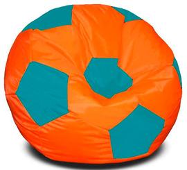 Кресло мешок футбольный мяч оранжево-бирюзовый